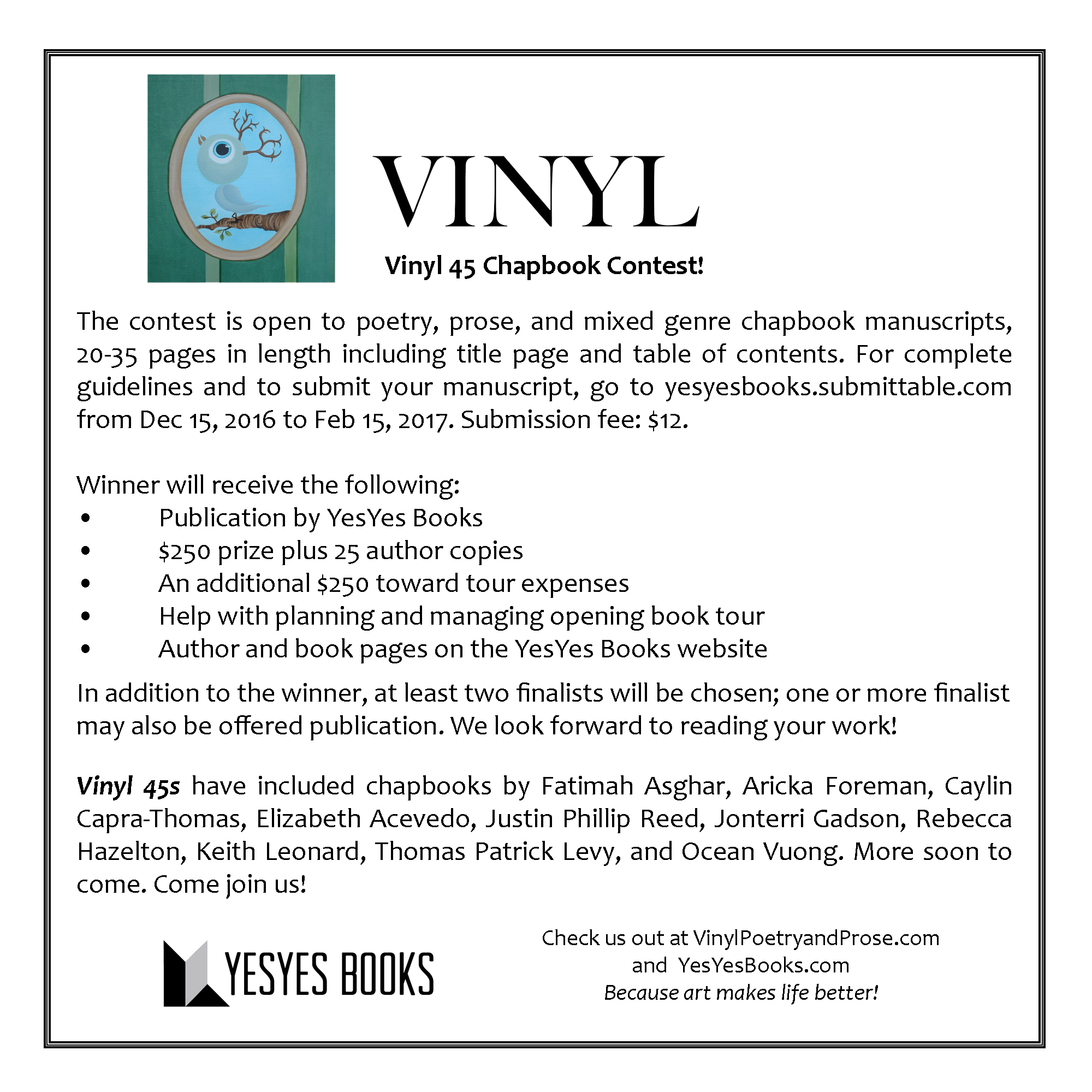 Submissions are open for 2017 Vinyl 45 Chapbook Contest! |